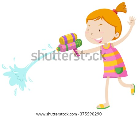 Girl playing with water gun illustration - stock vector