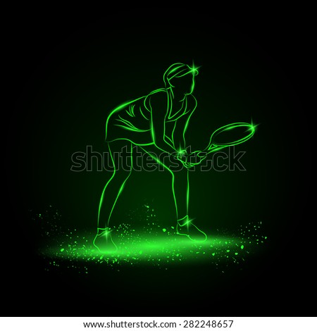 Girl plays tennis. Neon style.