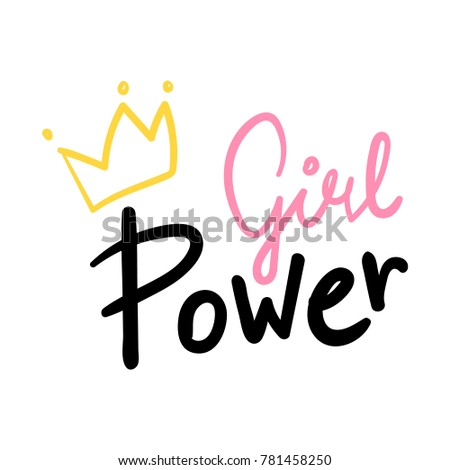 Girl Power Hand Lettering Vector Pink Stock Vector