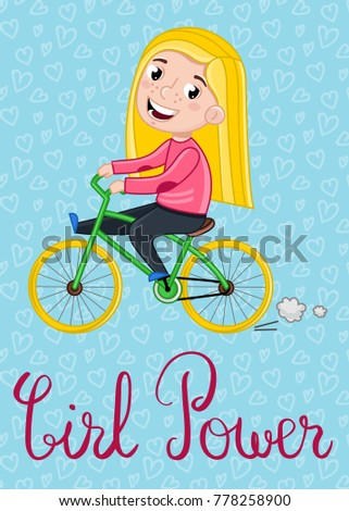 Girl Power Kids Postcard Template With Little Girl Riding On Bicycle. Cute  Greeting Card,