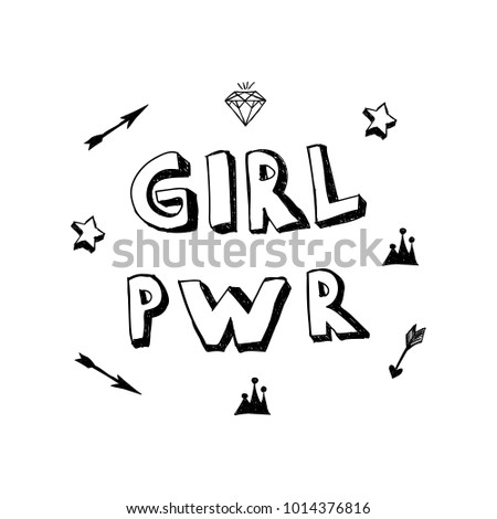 Girl Power Lettering With Girly Doodles Hand Draw Elements Pwr Words Diamond
