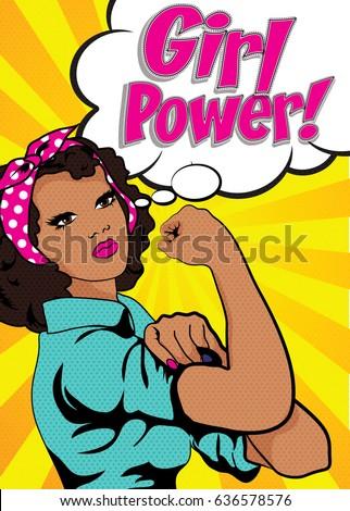 girl power pop art women vector stock vector royalty free