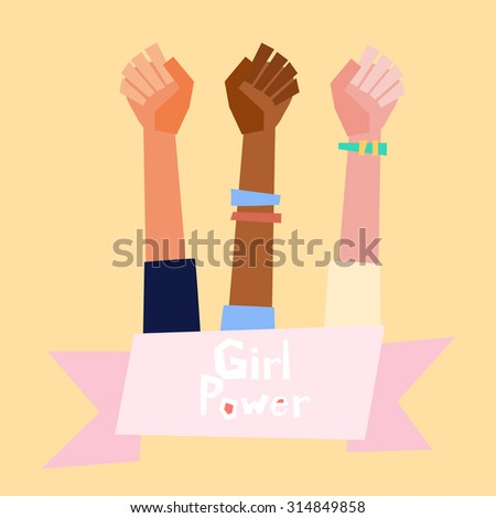 Girl power vector illustration in flat style.  Feminism symbol. - stock vector