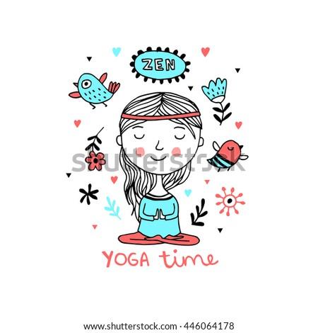 Girl Practicing Yoga. Vector illustration with cute background.Zen - stock vector