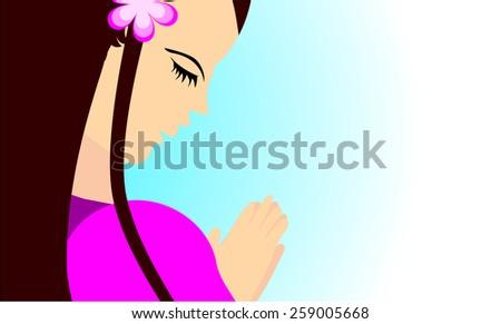 Girl praying to god- Beautiful girl praying peacefully in vector format  - stock vector