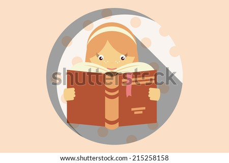Girl reading a book, imagination and education concept, vector - stock vector