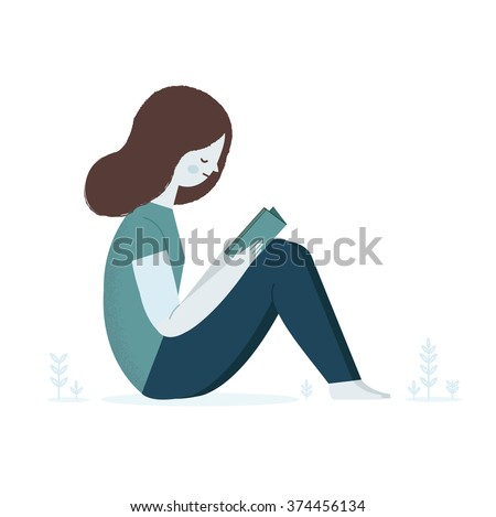 Girl reading a book on nature. Vector illustration - stock vector