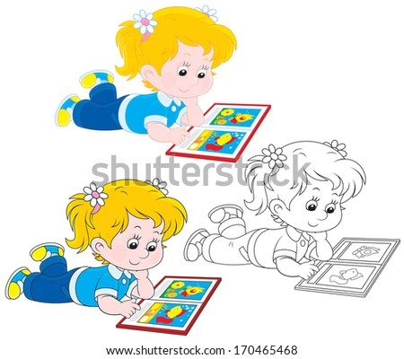 girl reads a book with colorful illustrations - stock vector