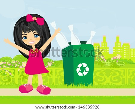 Girl recycling bottles  - stock vector