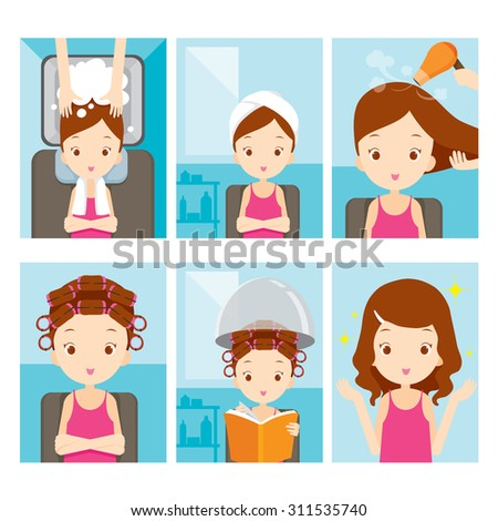 Girl relaxing in hair salon, hairdressing, beauty, hairdo, lifestyle, concept - stock vector