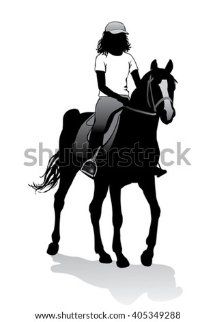 Girl riding a horse. Horse riding walk.