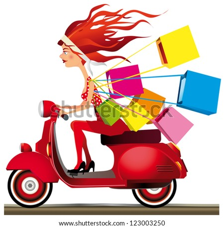 Girl riding a motorcycle carrying shopping bags - stock vector