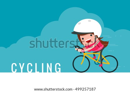 Girl riding bicycle trendy cartoon.