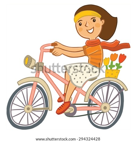 girl riding on a retro bike. funny character - stock vector