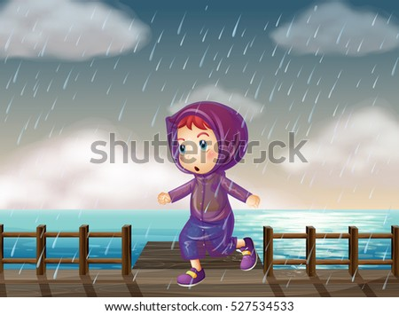 Girl running in rain at the pier illustration
