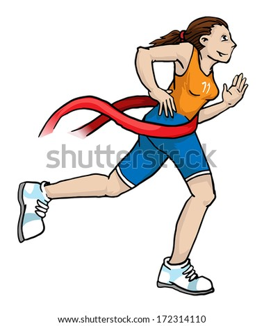 Girl running trough  the finish line, vector illustration - stock vector