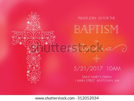 Girl's Baptism, Christening, First Communion, or Confirmation Invitation Card Template with Cross - Vector - stock vector