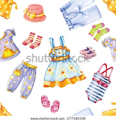 Girl's clothes seamless pattern. Vector illustration