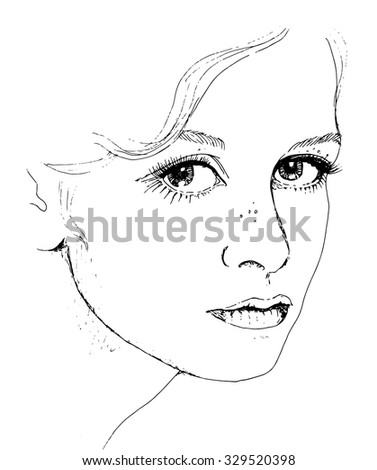 Girl's face. Sketchy portrait of a Girl in retro style - stock vector
