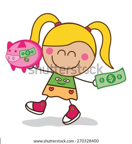 Girl saving money piggy bank - stock vector