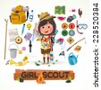 girl scout character with camping equipment. camping concept - vector illustration - stock photo
