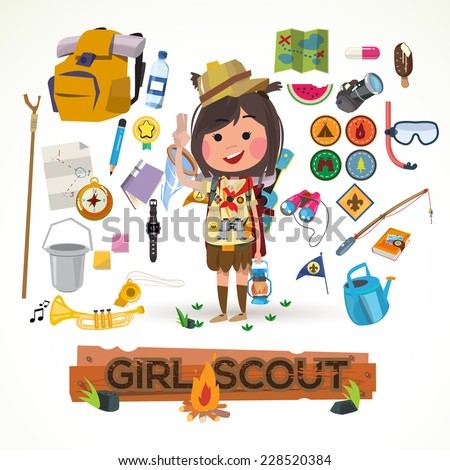 girl scout character with camping equipment. camping concept - vector illustration - stock vector