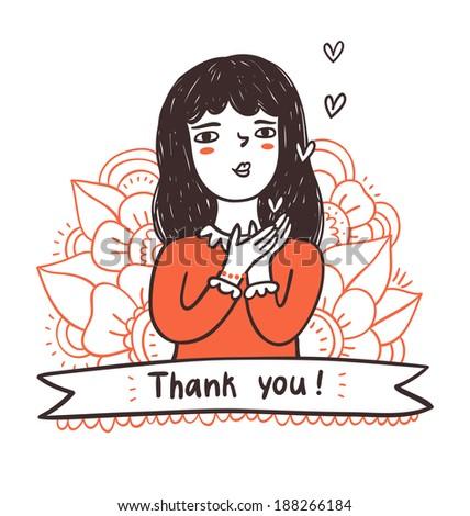 Girl sending hearts, thank you on a ribbon, vector illustration - stock vector