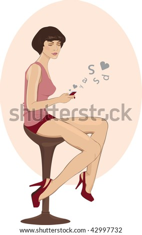 girl sending love message - stock vector