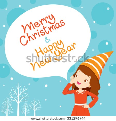 Girl Shouting, Blue Background, Happy New Year, Merry Christmas, Xmas, Objects, Festive, Celebrations - stock vector
