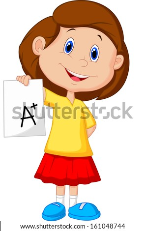 Girl showing A plus grade - stock vector