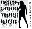 girl silhouette in black color art vector illustration - stock vector