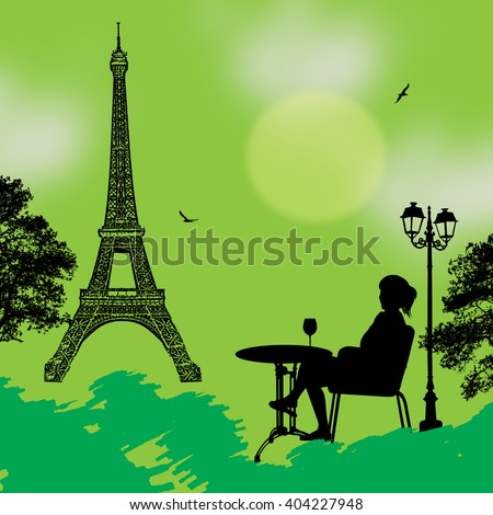 Girl silhouette in the street cafe in front of Eiffel tower on green background , vector illustration - stock vector