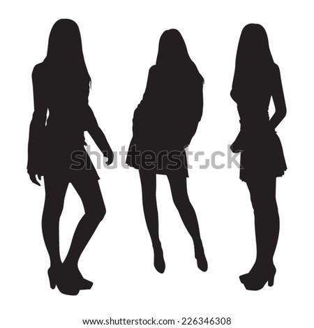 Girl Silhouettes - stock vector