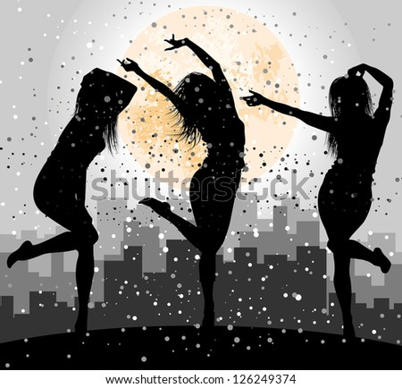 girl silhouettes against city - stock vector
