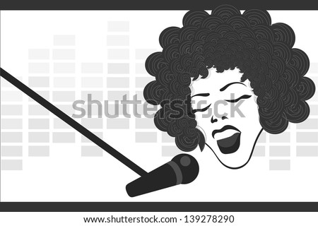 girl singing to the microphone - stock vector