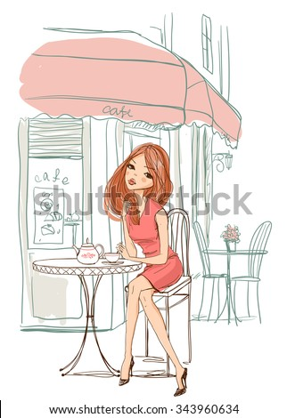 Girl sits in a cafe. - stock vector