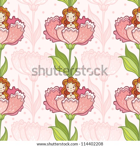 Girl Sitting in a Big Flower. Seamless Pattern Fairy Tale. Floral Background. - stock vector