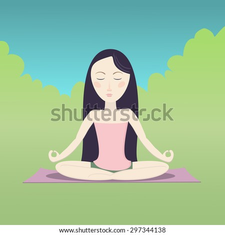 Girl sitting in the lotus pose and meditating. Vector cartoon illustration. - stock vector