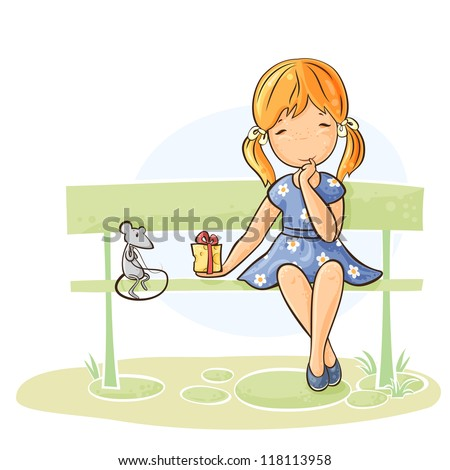 Good girl stock images royalty free images vectors - Cartoon girl sitting alone ...