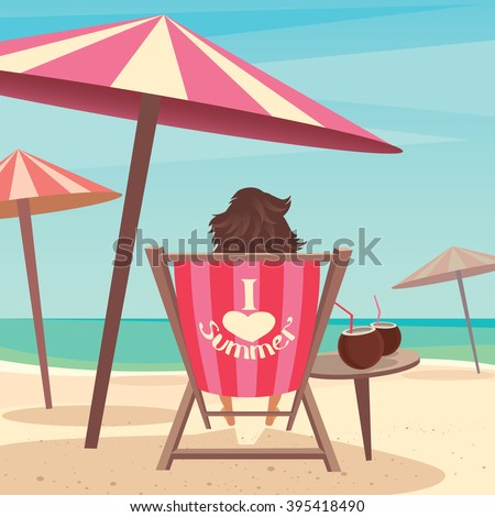 Girl sitting on a deck chair under an umbrella by the sea - Relax or laze concept. Vector illustration