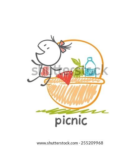 girl sitting on a large picnic basket illustration - stock vector