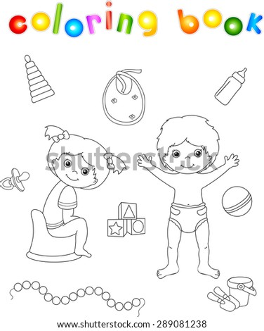 Girl sitting on the chamber pot and boy standing in diaper. Toys for children. Coloring book. Vector illustration - stock vector