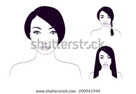 Girl sketch with different haircuts - stock vector