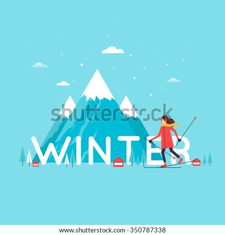 Girl skiing mountains in the background. Winter landscape, winter fun, winter vacation, winter sports, outdoors. New year. Flat design vector illustration. - stock vector