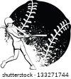 Girl Softball Batter - stock photo