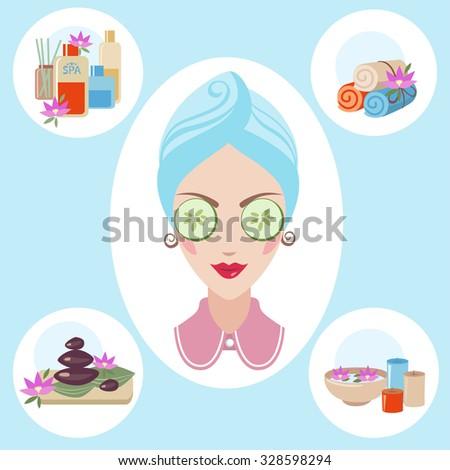 Girl spa beaty & health illustration on blue background - stock vector
