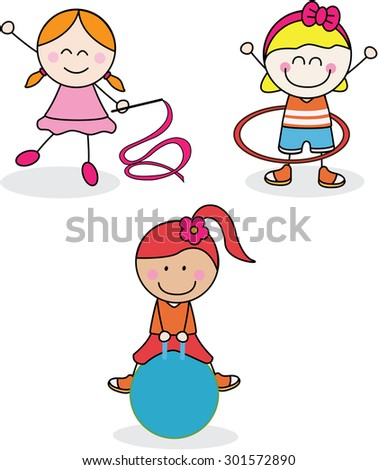 Girl sport collection - stock vector