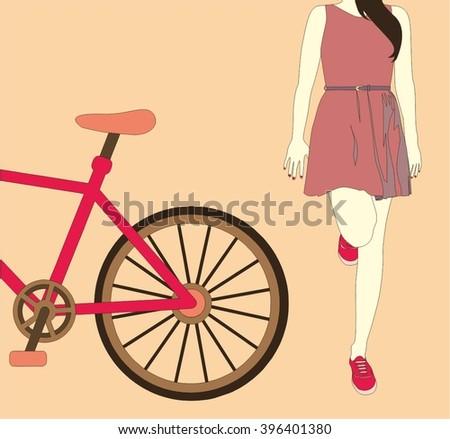 Girl standing next to her bike, vector  - stock vector