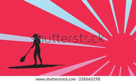 Girl standing up on a paddle board in sunlight, gradient background, vector illustration, isolated silhouette