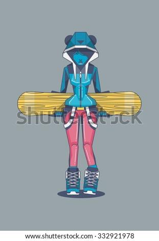 girl standing with snowboard, vector illustration - stock vector
